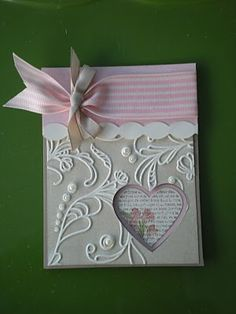 Gorgeous Embossed Heart Card...Amy Reinhardt: Narrowroad stamping:Fun with Punch Potpourri Hostess set.