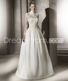 Gorgeous Ball Gown Floor-Length Sweep Satin Wedding Dresses with Lace Jacket