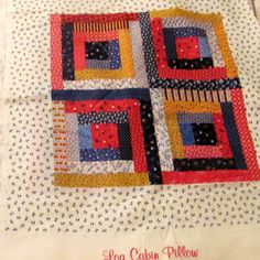 Three Log Cabin Fabric Pillow Panels by NewAgain on Etsy