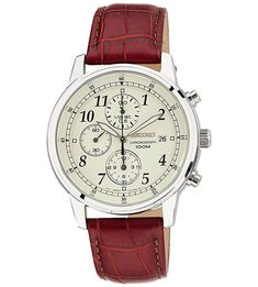 Seiko Men's Classic Stainless Steel Chronograph Watch with Brown Leather Band * You can find more details by visiting the image link. Seiko Diver, Best Watches For Men, Cool Watches, Daniel Wellington, Tommy Hilfiger, Seiko Men, Mens Watches Leather, Seiko Watches, Beautiful Watches
