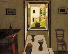 Marius Borgeaud (Swiss, 1861-1924), La table et les deux bols [Table and two bowls], 1922. Oil on canvas, 65.5 x 81 cm.