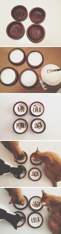 DIY Pet Bowls...Okay...how do they know which one says their own name?  How do you know Penny won't eat Jack's food?  And Leo might eat Lola's food.  And Lola might just eat everyone else's leftovers!!! ;)