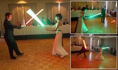 The force is strong with these two: Newlywed Star Wars fans replace their first dance at their wedding with a lightsaber battle