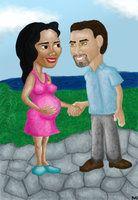 ilustração iniciada na sala de espera da ultrassonografia às vésperas do parto de nossa Diana.
