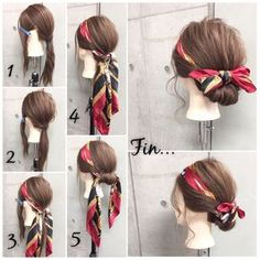 Easy and cute? Hair arrangements you can do ✨ Long scarf arrangement? Mixed scarves in an elegant atmosphere like Gibson tack style, Adults girl styley · · 1 rubber, 2 pins Holding time 10 mins 1. Both sides I will divide it into three parts. 2. I will tie back to one. 3. Cover with a scarf and tie on the back knot. 4. Put the side into the scarf twice. 5. Fluff of the back also swirls around the outer winding while fastening it in the outer winding and pushes it into the scarf knot and hold