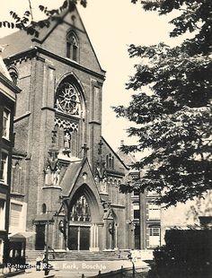 De Bosjeskerk rond 1900 Rotterdam, Notre Dame, Big Ben, Cathedral, History, City, Building, Travel, Historia