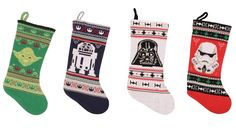 I know it's not even Halloween yet... but Christmas goods have hit the stores! And with very little fanfare, we might add. That's a good thing, though, because the pre-holiday backlash has led Target to quietly release Star Wars Christmas items online. There are a few ornaments and garlands, and a roll out of Star Wars: The Force Awakens merchandise, but the stand out are these new Star Wars knit stockings. Fashioned to look handmade and homey, these stockings are fairly large. At 20-inches…