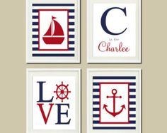 Anclaje de rueda de pared náutica velero arte por LovelyFaceDesigns