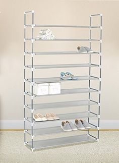 Grey 10 Tiers Shoe Rack 50 Pairs Non Woven Fabric Shoe Tower Storage  Organizer Cabinet