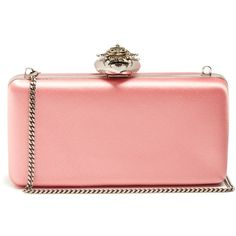 Alexander McQueen Heart-clasp satin box clutch ($2,220) ❤ liked on Polyvore featuring bags, handbags, clutches, pink, pink heart purse, red purse, clasp handbag, alexander mcqueen handbags and box clutch