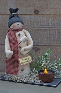 This snowman measures 8 tall. Very simple to make and can be changed up in many ways. Vintage ImagesTags Included Materials used in this pattern that can be purchased on my supplies page include: Wooden Snowmen, Primitive Snowmen, Primitive Crafts, Shabby Chic Christmas, Rustic Christmas, Primitive Christmas Patterns, Snowman Quilt, Snowman Wreath, Christmas Snowman