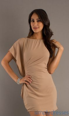 Dress, Short Dress with One Sleeve - Simply Dresses