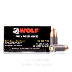 Wolf 9mm Ammo - 500 Rounds of 115 Grain FMJ Ammunition #9mm #9mmAmmo #Wolf #WolfAmmo #Wolf9mm #FMJ #WolfPolyformance