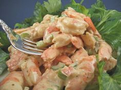 Shrimp Salad. This is great with avocado. Tried it in taco shells but will try on a bed of lettuce next time.