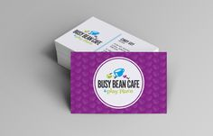 Hotspot Creative Solutions | Busy Bean Cafe & Play Place Business Card. We created this fun, purple card keeping the emphasis on their branding, creating a coffee cup pattern background for one side. We also created cards with green and blue backgrounds for variety.