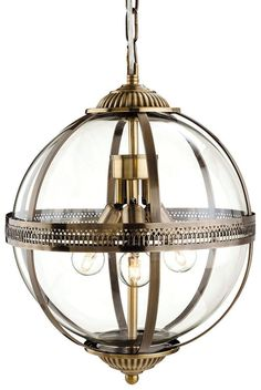 Mayfair 3413 Antique Brass Glass Globe Lantern Pendant Light from Lights 4 Living