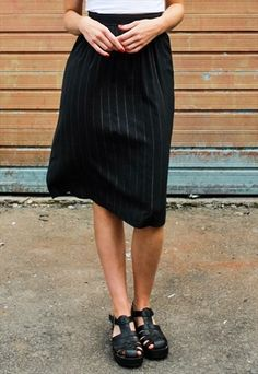 48f8cb014b Vintage+Black+Metallic+Stripe+Midi+Skirt Black Cotton