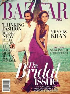 Kareena Kapoor and Saif Ali Khan on The Cover of Harper's Bazaar- October 2013.