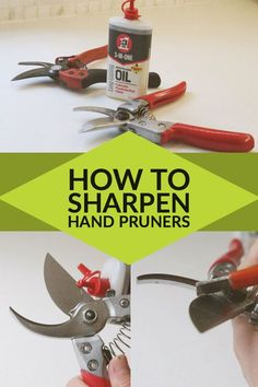 How to clean and sharpen your hand pruners in 5 minutes or less! It'll take you longer to find them than it does to sharpen them. Take a few minutes at the beginning of the season to get them in tip-top shape and they'll be good to go! Gardening For Beginners, Gardening Tips, Organic Gardening, Kitchen Gardening, Indoor Gardening, Vegetable Gardening, Yard Tools, Garden Tool Storage, Diy Garden Projects