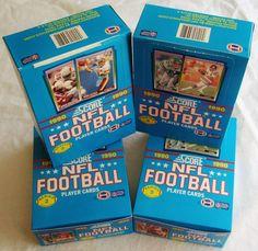4  1990 Box Lot  Score Football CARDS  Unopened  Montana Elway Rice Bo ? ?? +???