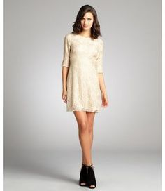 A.B.S. by Allen Schwartz metallic gold and nude stretch lace three quarter sleeve dress on shopstyle.com