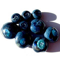 Handmade Lampwork Glass Beads Lentil Navy Blue Murrini