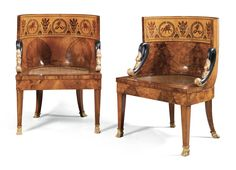 A pair of Russian walnut, fruitwood, marquetry ebonised and parcel-gilt chairs, circa 1840 ,