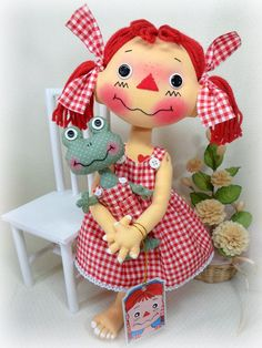 "CLOTH RAG DOLLS RAGGEDY ANN ANDY ~14"" RED CHECKED PIGTAIL ANNIE & MR FROGGY DOLL"