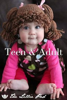 Cabbage Patch Kid Inspired Crochet Wig/Hat, TEEN & ADULT Size, Custom made by linkee