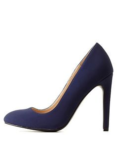 Qupid Round Toe Stiletto Pumps: Charlotte Russe #navy #pumps