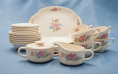 hazel pattern dishes | Hazel China 1940's Dishes with pink roses, blue, and yellow flowers ...