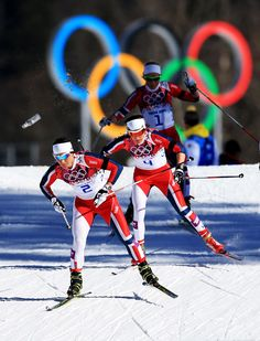 Marit Bjoergen and Heidi Weng of Norway won a gold medal and a bronze medal in the  Women's Skiathlon 7.5 km Classic and 7.5 km Free. Photo credit: Getty Images/Olympic.org.