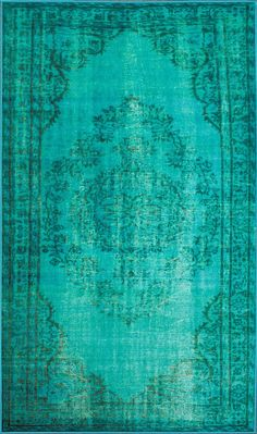 Remade Distressed Overdyed Turquoise Rug