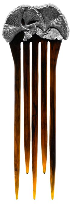 Ginkgo Hair Comb - by:  Oberon Design - size: 5 3/4 inches long. 1 3/8 inches wide on bottom and 1 3/4 wide on top.  Comb prongs are 4 1/2 inches long. - $28.00