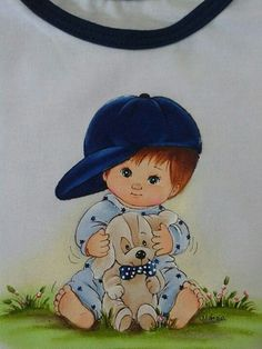 Little Boy With Dog by Artist Marcia Suelí - Color Image Baby Clip Art, Baby Art, Clipart Boy, Picture Postcards, Boy Pictures, Whimsical Art, Baby Disney, Painting For Kids, Cute Photos