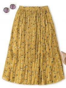 Midi Tiny Floral Pleated Skirt - Yellow - Yellow One Size