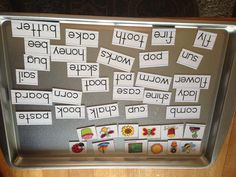 Dollar Store word practice. Word/letter magnets + metal cookie sheet = easy storage and practice all in one. Store magnets not in use on one side and use the other side to display the desired activity such as creating sentences, phonics practice, compound words, plurals, word families, etc...  The possibilities are endless!