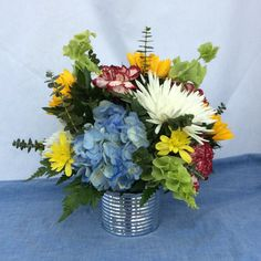 This silver nut and bolt vase is a great gift for the man who loves to wrench. It is filled with a bright bouquet of flowers that says your special to me. Send Flowers, Fresh Flowers, Local Florist, Flower Designs, Flower Arrangements, Great Gifts, Bouquet, Vase, Plants