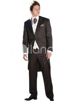 Long Black Single Breasted Button Lapel Worsted Groom Wedding Tuxedo Tuxedo Wedding, Wedding Groom, Wedding Tuxedos, Single Sein, Black Singles, Groom Wear, Long Black, Marie, Suit Jacket