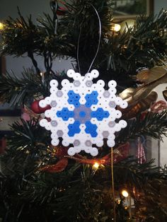 Snowflake Christmas Tree Decoration Hama beads by CrackBrainCrafts
