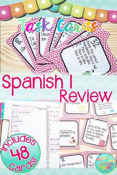 Want to review everything your students learned in Spanish 1 before they leave for the summer OR go over Spanish 1 concepts at the beginning of Spanish 2 to refresh your students' memories? This task card set comes with 48 different cards to get your students up and moving while reviewing topics learned in Spanish 1. #spanish1 #spanishreview #spanishclass #taskcards