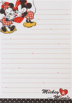 cute red Mickey Mouse kiss heart Disney Note Pad from Japan - Memo Pads… Printable Lined Paper, Free Printable Stationery, Printable Recipe Cards, Stationery Paper, Disney Scrapbook, Mickey And Friends, Note Paper, Writing Paper, Planner Pages