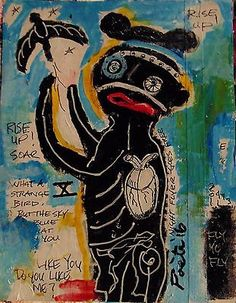 POETE-MAUDIT-Street-Art-Outsider-Painting-Naive-Brut-WHAT-A-STRANGE-BIRD