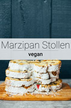 veganer Marzipan Stollen veganer Marzipan Stollen,vegane Rezepte Simple, crumbly and vegan marzipan stollen with a soft marzipan core. Perfect, durable pastries for your vegan Christmas. Vegan Christmas, Christmas Brunch, Christmas Baking, Marzipan, Holiday Appetizers, Holiday Recipes, Homemade Carrot Cake, Tacos, Vegan Sweets