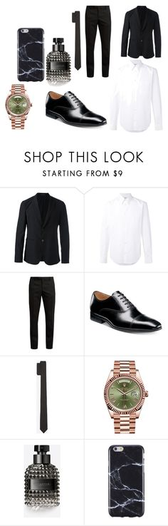 """Joint Engagement Party Daniel"" by beth-kidd on Polyvore featuring Emporio Armani, STELLA McCARTNEY, Yves Saint Laurent, Florsheim, Valentino, Rolex, FingerPrint Jewellry, men's fashion and menswear"