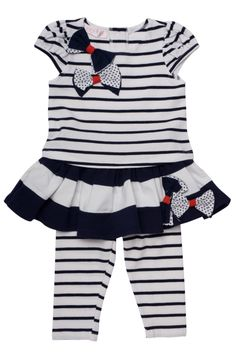 Biscotti Girl's She's Got Stripes Skirted Legging & Top in Navy - Skirt Leggings, Tops For Leggings, White Tops, Navy And White, Stripe Skirt, Toddler Fashion, Baby Dress, Girl Outfits, Stripes