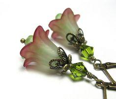 Lucite Flower Earrings, Vintage Style, Crimson Red, Lime Green, Swarovski, Dangle Earrings, Tender Shoots, Garden Style, Gifts for Gardeners on Etsy, $22.00