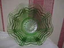 VINTAGE SERVÍROVÁNÍ ovocná mísa GREEN lisovaného skla Art Deco
