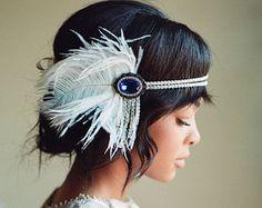 Saphir Flapper Stirnband, Vintage Kopfstück, Bridal Toupet, große Gatsby Party, 1920er Jahre Roaring 20er Jahre, blauer Saphir Silber White Feather 2