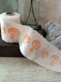 Hand Stamped Fabric  mushrooms Ribbon 5 Yards by deerbadger, $10.00